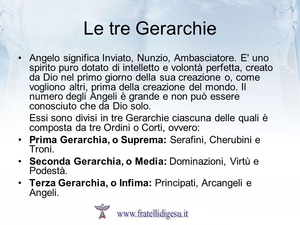 Le tre Gerarchie Angelo significa Inviato, Nunzio, Ambasciatore. E' uno spirito puro dotato di intelletto e volontà perfetta, creato da Dio nel primo