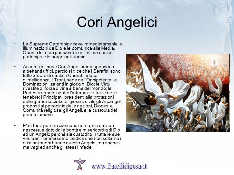 Cori Angelici La Suprema Gerarchia riceve immediatamente le illuminazioni da Dio e le comunica alla Media. Questa le attua passandole all'Infima che n