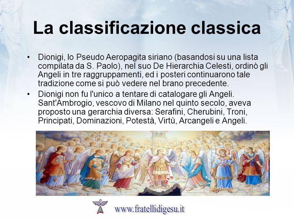 La classificazione classica Dionigi, lo Pseudo Aeropagita siriano (basandosi su una lista compilata da S. Paolo), nel suo De Hierarchia Celesti, ordin