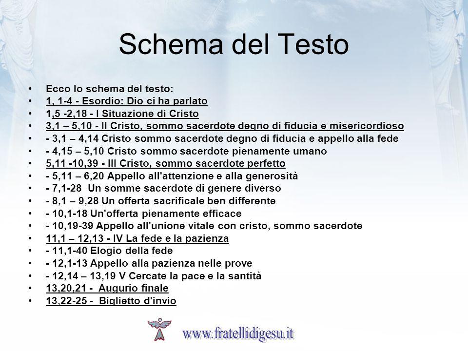 Schema del Testo Ecco lo schema del testo: 1, 1-4 - Esordio: Dio ci ha parlato 1,5 -2,18 - I Situazione di Cristo 3,1 – 5,10 - II Cristo, sommo sacerd