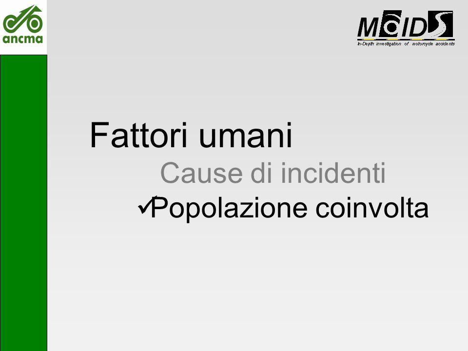 Fattori umani Cause di incidenti Popolazione coinvolta