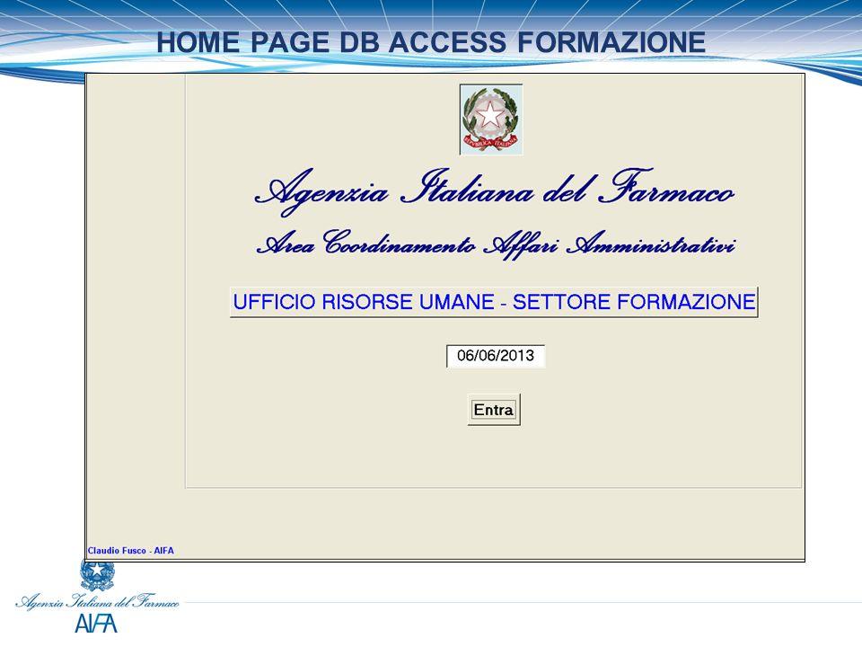 HOME PAGE DB ACCESS FORMAZIONE