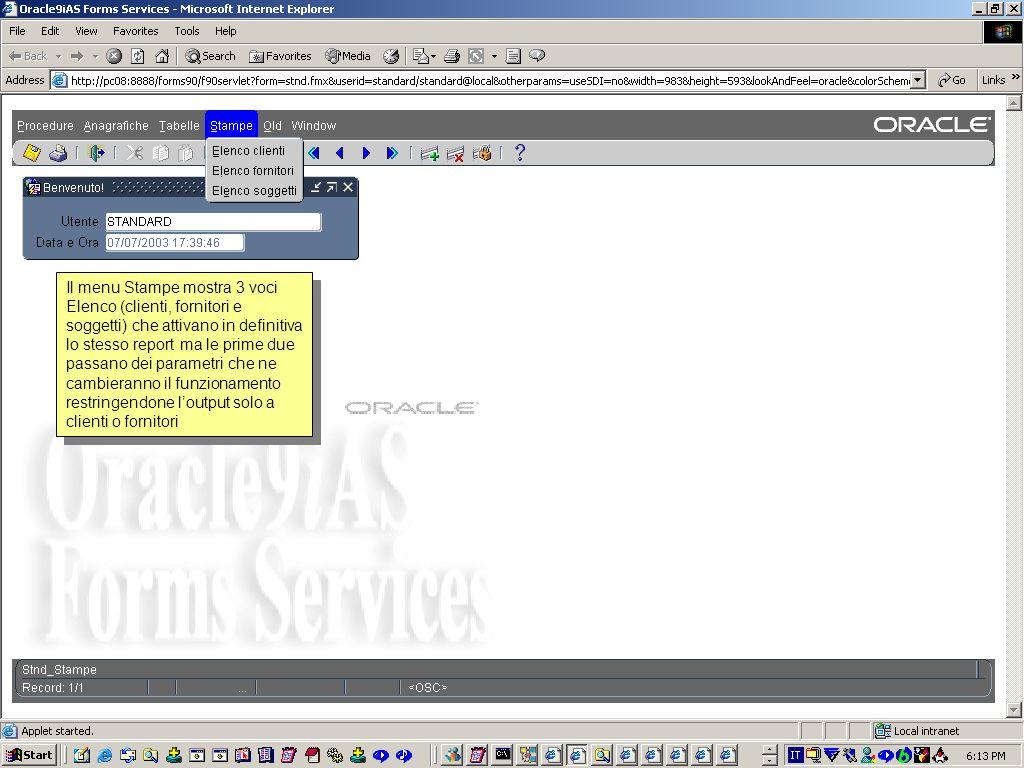In questaltro semplice form osserviamo il controllo sulla disposizione dei campi, la colonna che funge da current record indicator (come sulle Oracle Applications), luso di campi di tipo pop-list che nascondono completamente le codifiche interne dei dati, laggiunta del carattere asterisco sulle etichette dei campi obbligatori nella gestione mono- record.