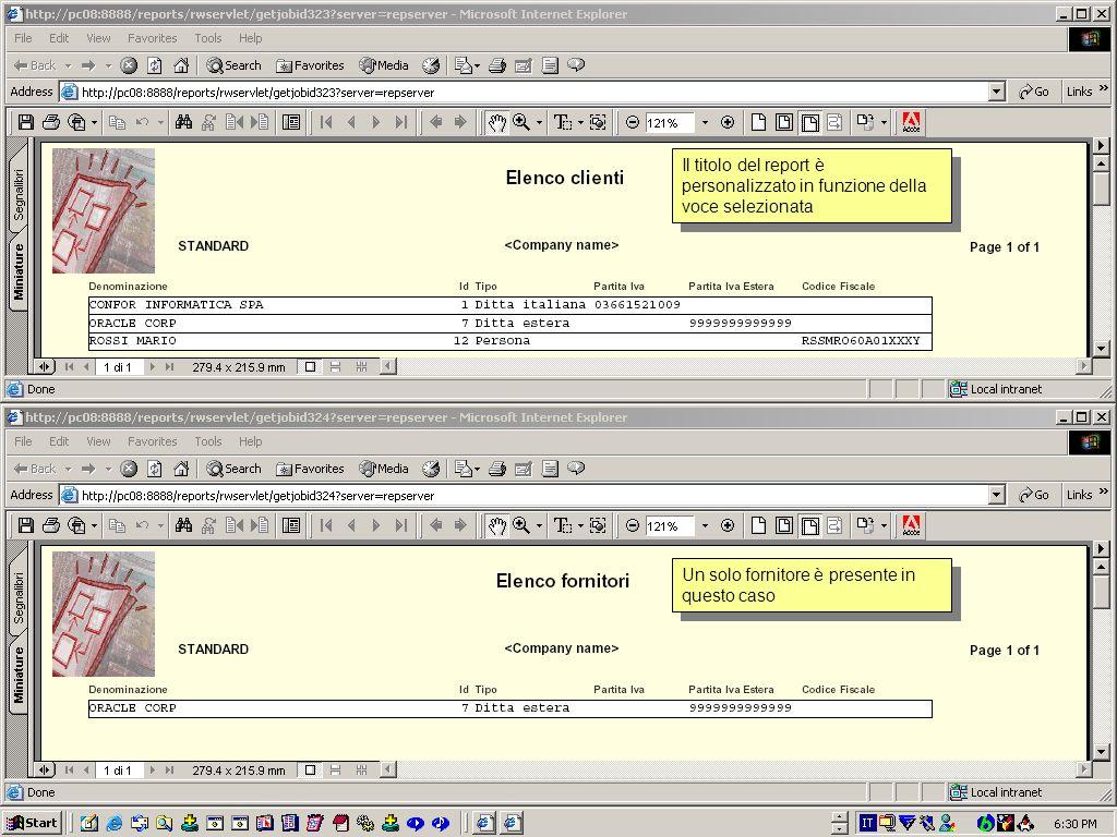 Il menu Stampe mostra 3 voci Elenco (clienti, fornitori e soggetti) che attivano in definitiva lo stesso report ma le prime due passano dei parametri che ne cambieranno il funzionamento restringendone loutput solo a clienti o fornitori