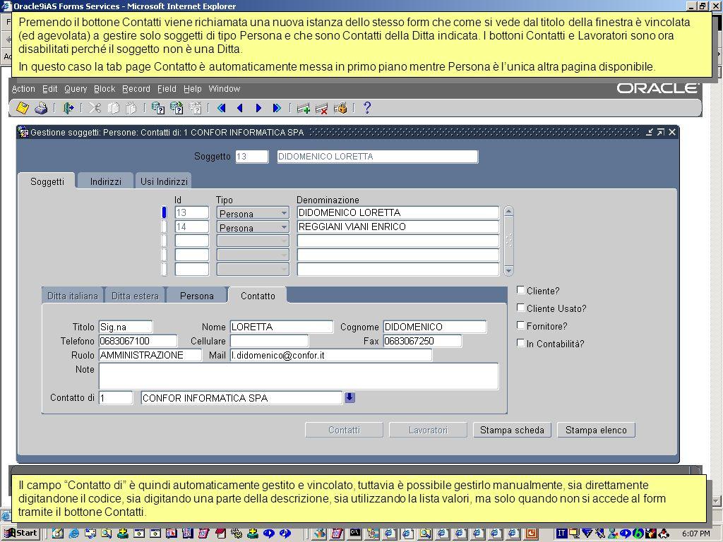 La porzione di titolo della finestra : Clienti ed i vincoli sul checkbox Cliente.