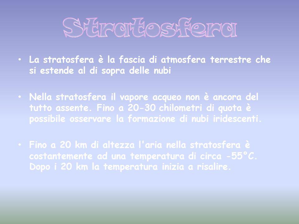 La stratosfera è la fascia di atmosfera terrestre che si estende al di sopra delle nubi Nella stratosfera il vapore acqueo non è ancora del tutto asse