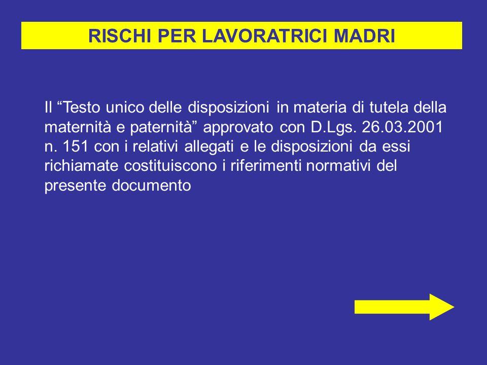 RISCHI PER LAVORATRICI MADRI Il Testo unico delle disposizioni in materia di tutela della maternità e paternità approvato con D.Lgs.