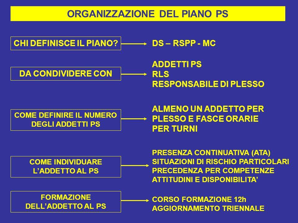ORGANIZZAZIONE DEL PIANO PS CHI DEFINISCE IL PIANO.