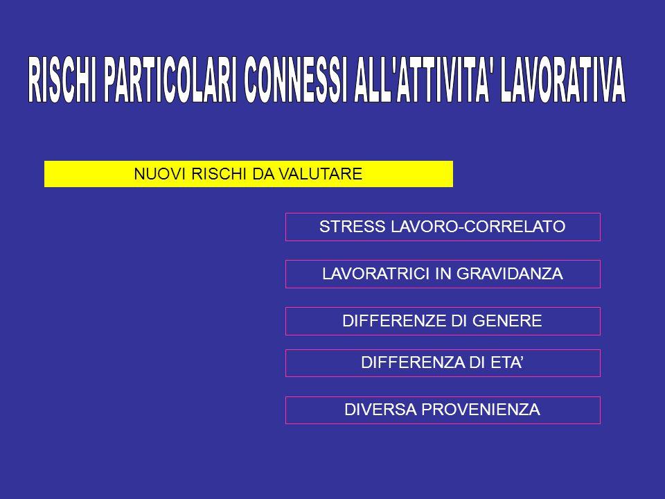 NUOVI RISCHI DA VALUTARE STRESS LAVORO-CORRELATO LAVORATRICI IN GRAVIDANZA DIFFERENZE DI GENERE DIFFERENZA DI ETA DIVERSA PROVENIENZA