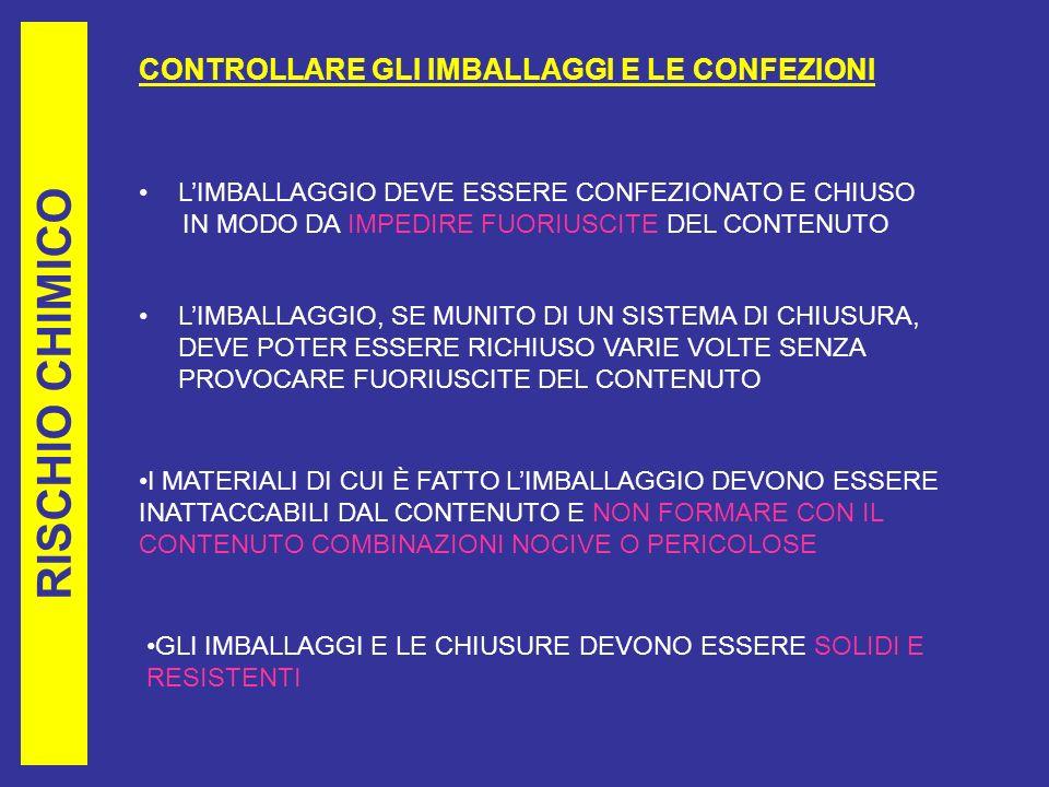 RISCHIO CHIMICO CONTROLLARE GLI IMBALLAGGI E LE CONFEZIONI LIMBALLAGGIO DEVE ESSERE CONFEZIONATO E CHIUSO IN MODO DA IMPEDIRE FUORIUSCITE DEL CONTENUTO LIMBALLAGGIO, SE MUNITO DI UN SISTEMA DI CHIUSURA, DEVE POTER ESSERE RICHIUSO VARIE VOLTE SENZA PROVOCARE FUORIUSCITE DEL CONTENUTO I MATERIALI DI CUI È FATTO LIMBALLAGGIO DEVONO ESSERE INATTACCABILI DAL CONTENUTO E NON FORMARE CON IL CONTENUTO COMBINAZIONI NOCIVE O PERICOLOSE GLI IMBALLAGGI E LE CHIUSURE DEVONO ESSERE SOLIDI E RESISTENTI