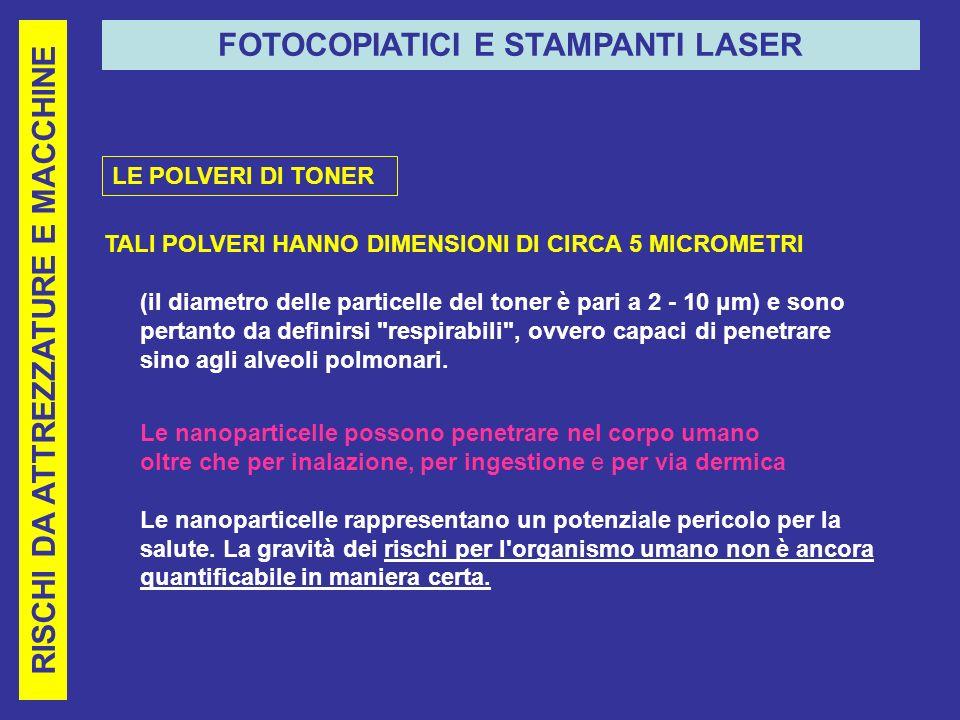 RISCHI DA ATTREZZATURE E MACCHINE FOTOCOPIATICI E STAMPANTI LASER TALI POLVERI HANNO DIMENSIONI DI CIRCA 5 MICROMETRI (il diametro delle particelle del toner è pari a 2 - 10 μm) e sono pertanto da definirsi respirabili , ovvero capaci di penetrare sino agli alveoli polmonari.