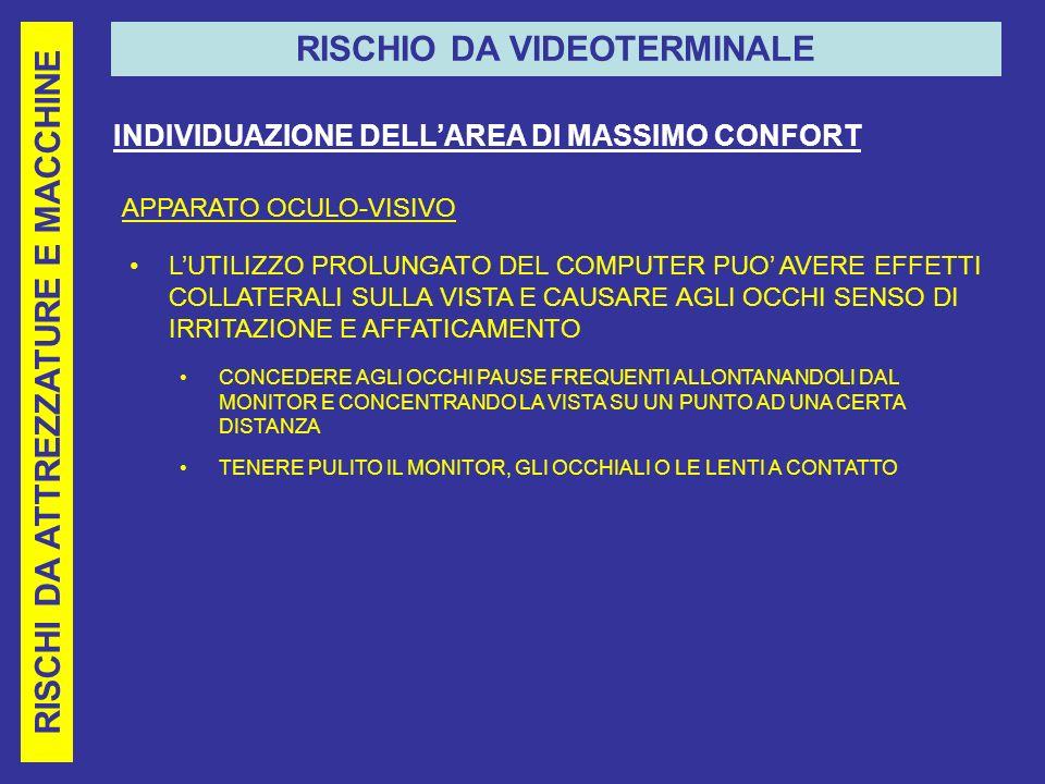 RISCHI DA ATTREZZATURE E MACCHINE RISCHIO DA VIDEOTERMINALE INDIVIDUAZIONE DELLAREA DI MASSIMO CONFORT APPARATO OCULO-VISIVO LUTILIZZO PROLUNGATO DEL COMPUTER PUO AVERE EFFETTI COLLATERALI SULLA VISTA E CAUSARE AGLI OCCHI SENSO DI IRRITAZIONE E AFFATICAMENTO CONCEDERE AGLI OCCHI PAUSE FREQUENTI ALLONTANANDOLI DAL MONITOR E CONCENTRANDO LA VISTA SU UN PUNTO AD UNA CERTA DISTANZA TENERE PULITO IL MONITOR, GLI OCCHIALI O LE LENTI A CONTATTO