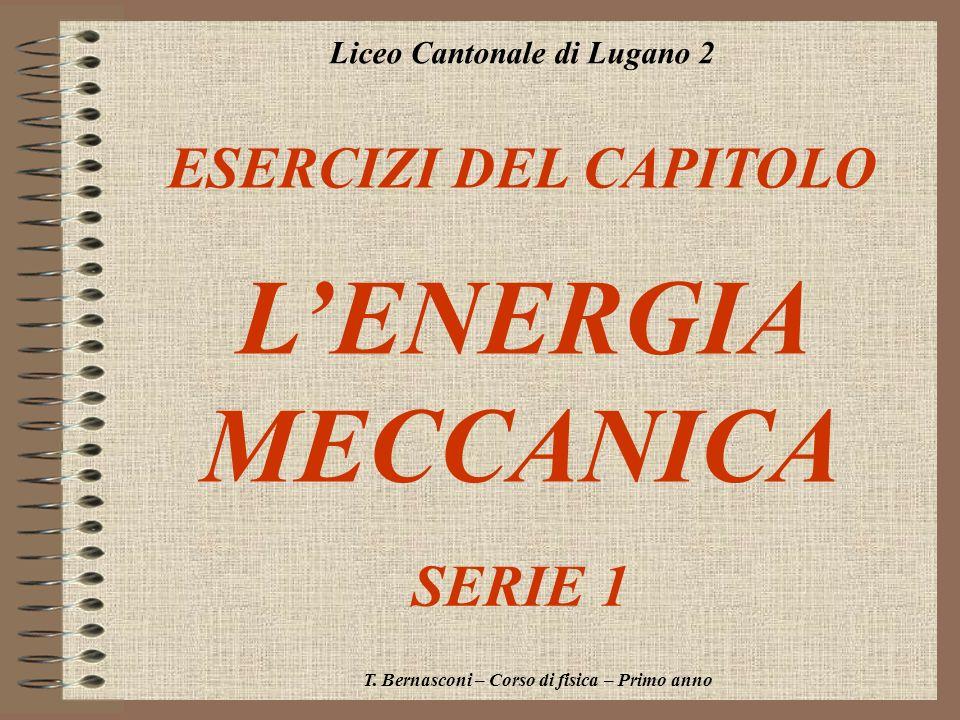 Liceo Cantonale di Lugano 2 ESERCIZI DEL CAPITOLO LENERGIA MECCANICA T. Bernasconi – Corso di fisica – Primo anno SERIE 1