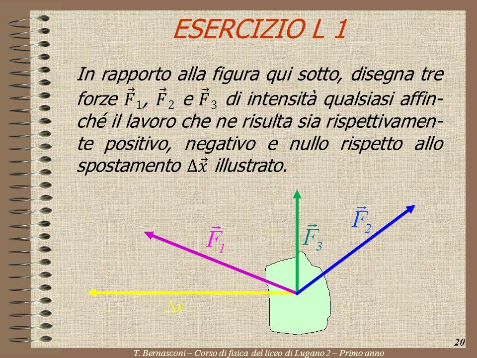 ESERCIZIO L 1 20 T. Bernasconi – Corso di fisica del liceo di Lugano 2 – Primo anno
