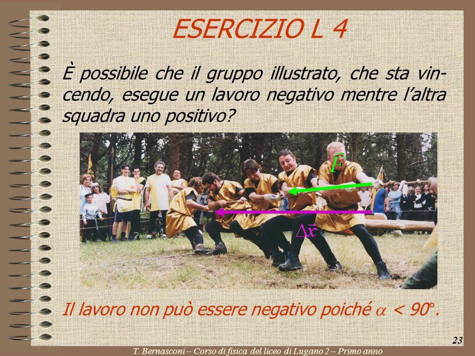 ESERCIZIO L 4 È possibile che il gruppo illustrato, che sta vin- cendo, esegue un lavoro negativo mentre laltra squadra uno positivo? 23 T. Bernasconi