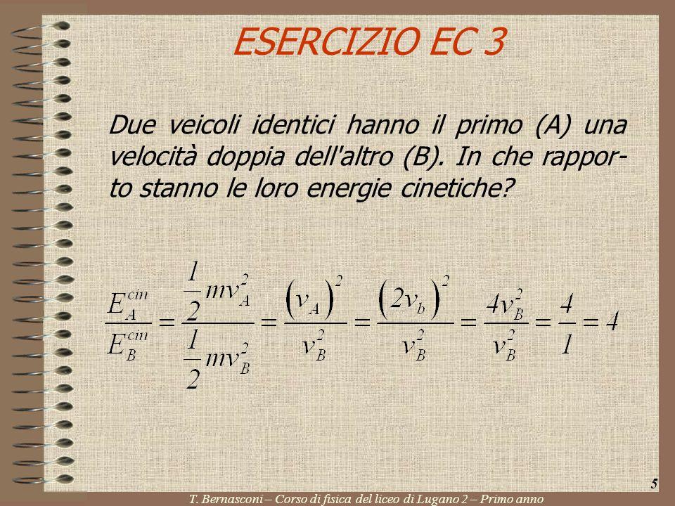 ESERCIZIO EC 3 Due veicoli identici hanno il primo (A) una velocità doppia dell'altro (B). In che rappor- to stanno le loro energie cinetiche? 5 T. Be