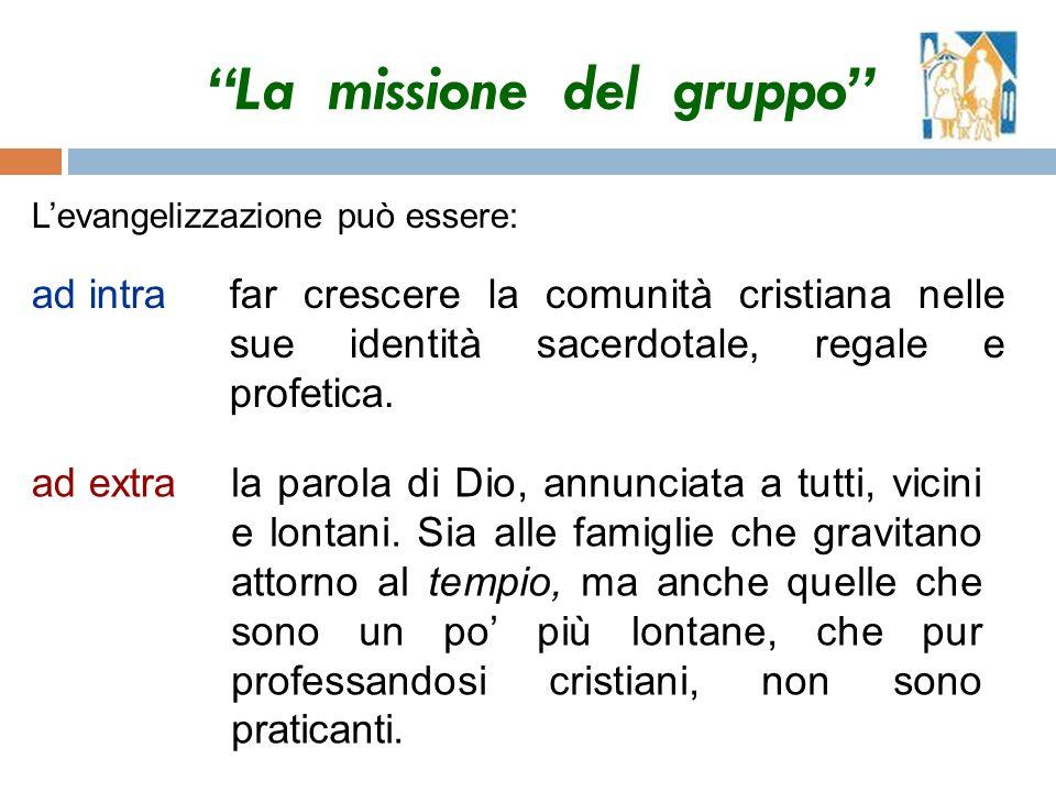 La missione del gruppo Levangelizzazione può essere: ad intrafar crescere la comunità cristiana nelle sue identità sacerdotale, regale e profetica.