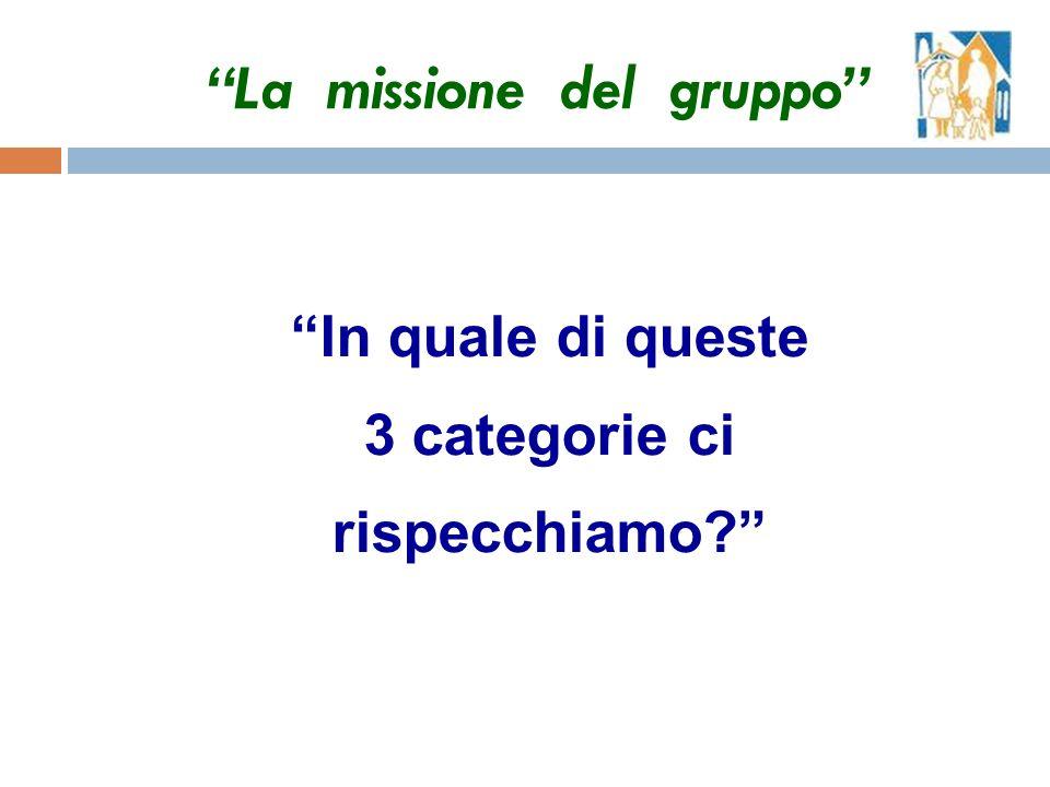 In quale di queste 3 categorie ci rispecchiamo La missione del gruppo