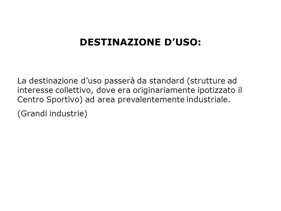 La destinazione duso passerà da standard (strutture ad interesse collettivo, dove era originariamente ipotizzato il Centro Sportivo) ad area prevalent