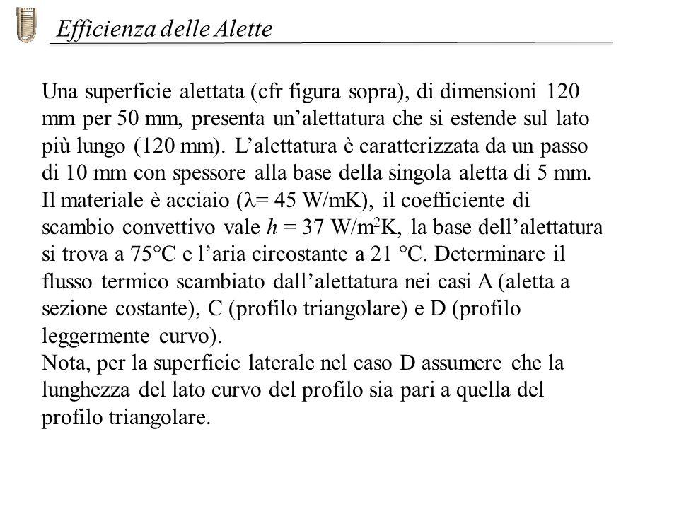 Una superficie alettata (cfr figura sopra), di dimensioni 120 mm per 50 mm, presenta unalettatura che si estende sul lato più lungo (120 mm).