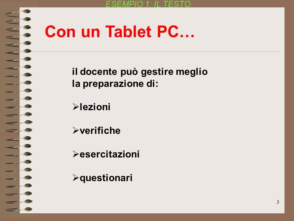 3 il docente può gestire meglio la preparazione di: lezioni verifiche esercitazioni questionari Con un Tablet PC… ESEMPIO 1: IL TESTO
