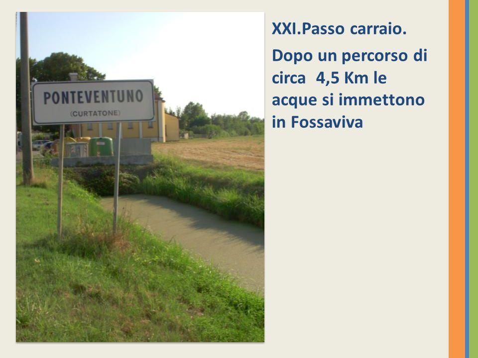XXI.Passo carraio. Dopo un percorso di circa 4,5 Km le acque si immettono in Fossaviva
