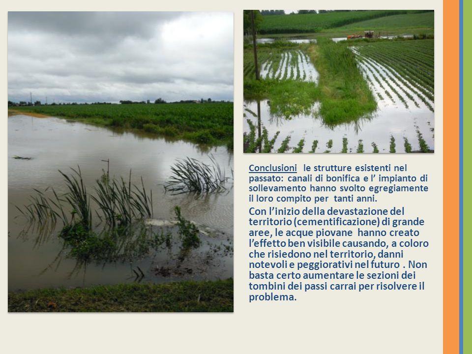 Conclusioni le strutture esistenti nel passato: canali di bonifica e l impianto di sollevamento hanno svolto egregiamente il loro compito per tanti anni.