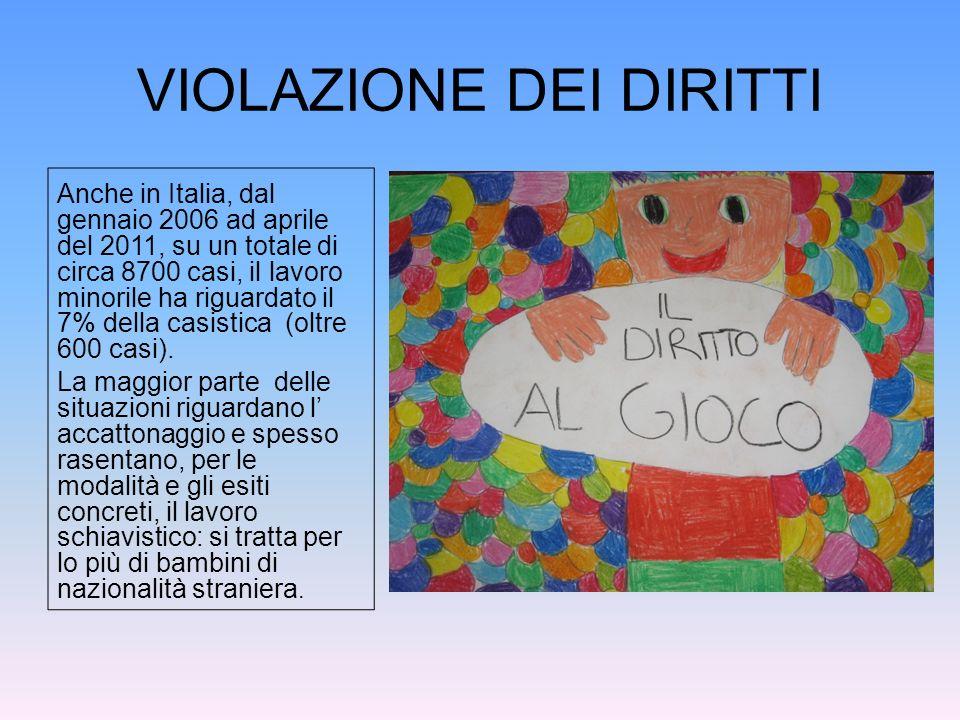 VIOLAZIONE DEI DIRITTI Anche in Italia, dal gennaio 2006 ad aprile del 2011, su un totale di circa 8700 casi, il lavoro minorile ha riguardato il 7% d