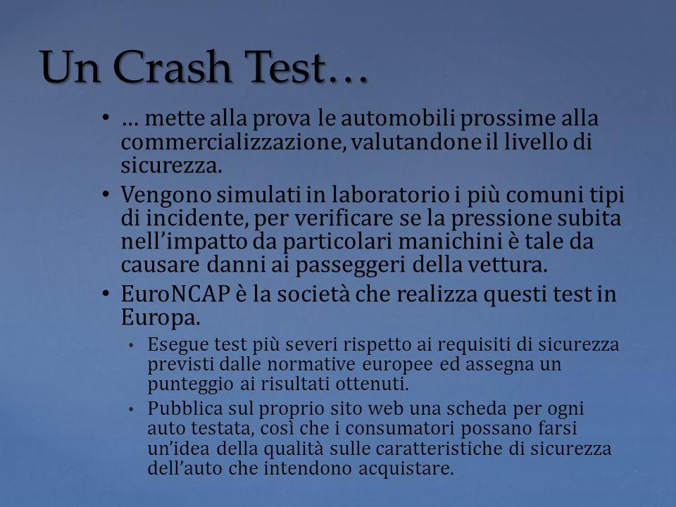 … mette alla prova le automobili prossime alla commercializzazione, valutandone il livello di sicurezza. Vengono simulati in laboratorio i più comuni