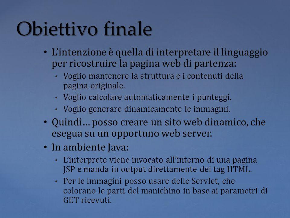 Lintenzione è quella di interpretare il linguaggio per ricostruire la pagina web di partenza: Voglio mantenere la struttura e i contenuti della pagina