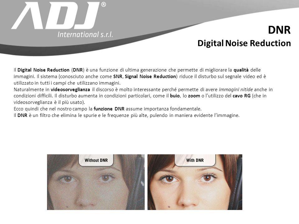 Il Digital Noise Reduction (DNR) è una funzione di ultima generazione che permette di migliorare la qualità delle immagini. Il sistema (conosciuto anc
