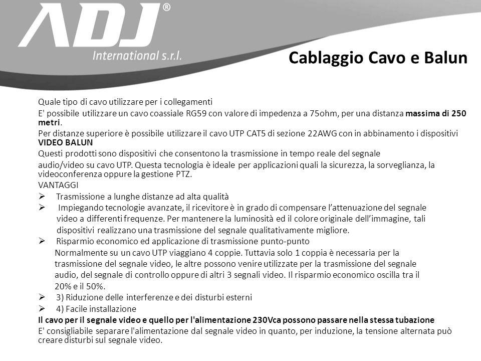 Cablaggio Cavo e Balun Quale tipo di cavo utilizzare per i collegamenti E possibile utilizzare un cavo coassiale RG59 con valore di impedenza a 75ohm, per una distanza massima di 250 metri.