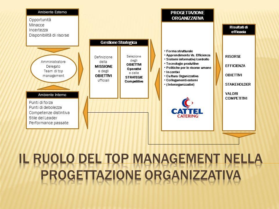 Opportunità Minacce Incertezza Disponibilità di risorse Ambiente Esterno Amministratore Delegato Team di top management Punti di forza Punti di debole