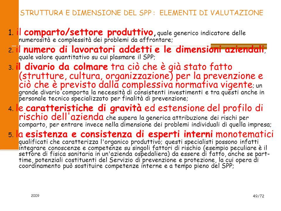 2009 50/72 Compiti del SPP SPPSPP PROVVEDE ELABORA PROPONE PARTECIPA FORNISCE alla INDIVIDUAZIONE dei fattori di rischio alla VALUTAZIONE dei rischi alla INDIVIDUAZIONE delle misure di sicurezza negli ambienti di lavoro - il PIANO di SICUREZZA - le PROCEDURE di SICUREZZA il PROGRAMMA di INFORMAZIONE e FORMAZIONE alle CONSULTAZIONI in occasione della riunione periodica di Prevenzione LINFORMATIVA specifica a tutti i lavoratori su: - RISCHI POTENZIALI - MISURE di PREVENZIONE