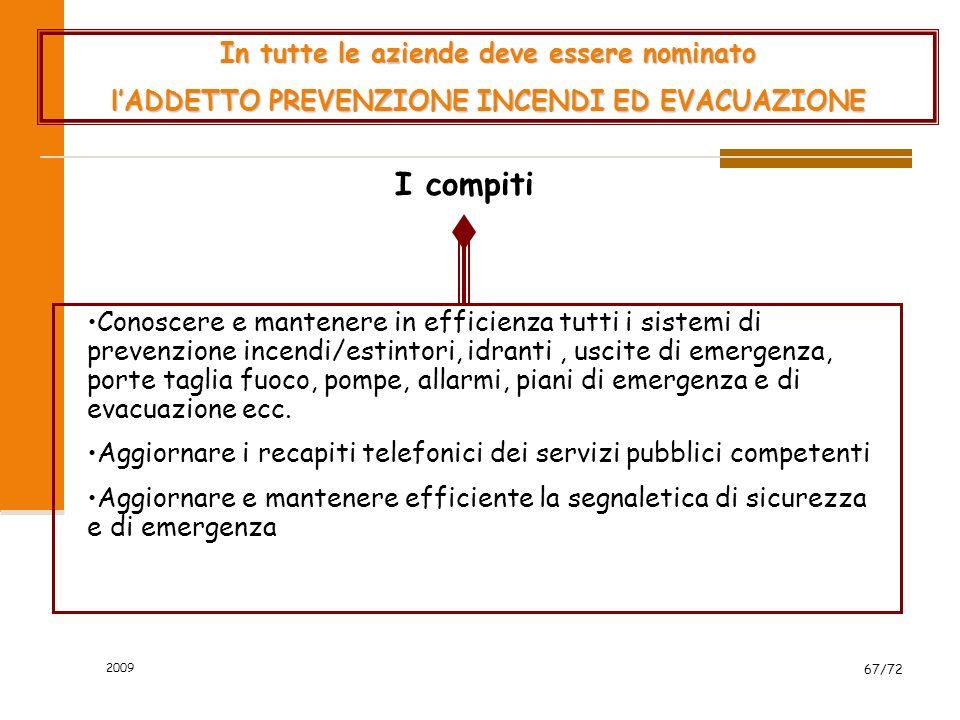 2009 68/72 Laddetto del pronto soccorso I compiti Gli addetti nominati devono partecipare ad un corso di formazione specifico.