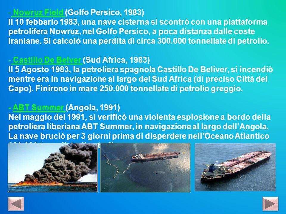 - Nowruz Field (Golfo Persico, 1983) Il 10 febbario 1983, una nave cisterna si scontrò con una piattaforma petrolifera Nowruz, nel Golfo Persico, a po