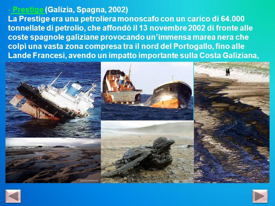 - Prestige (Galizia, Spagna, 2002) La Prestige era una petroliera monoscafo con un carico di 64.000 tonnellate di petrolio, che affondò il 13 novembre