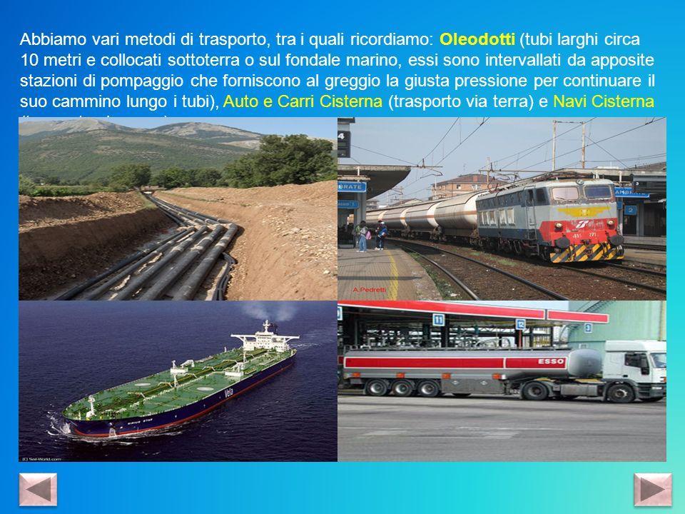 Abbiamo vari metodi di trasporto, tra i quali ricordiamo: Oleodotti (tubi larghi circa 10 metri e collocati sottoterra o sul fondale marino, essi sono