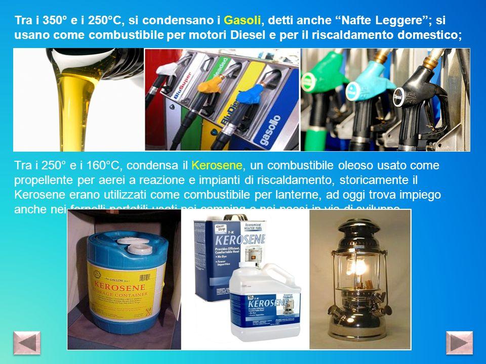 Tra i 350° e i 250°C, si condensano i Gasoli, detti anche Nafte Leggere; si usano come combustibile per motori Diesel e per il riscaldamento domestico