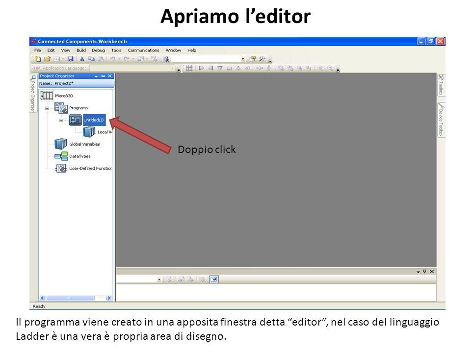 Doppio click Apriamo leditor Il programma viene creato in una apposita finestra detta editor, nel caso del linguaggio Ladder è una vera è propria area di disegno.