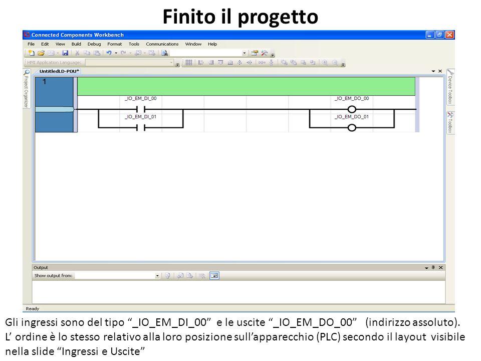 Finito il progetto Gli ingressi sono del tipo _IO_EM_DI_00 e le uscite _IO_EM_DO_00 (indirizzo assoluto). L ordine è lo stesso relativo alla loro posi