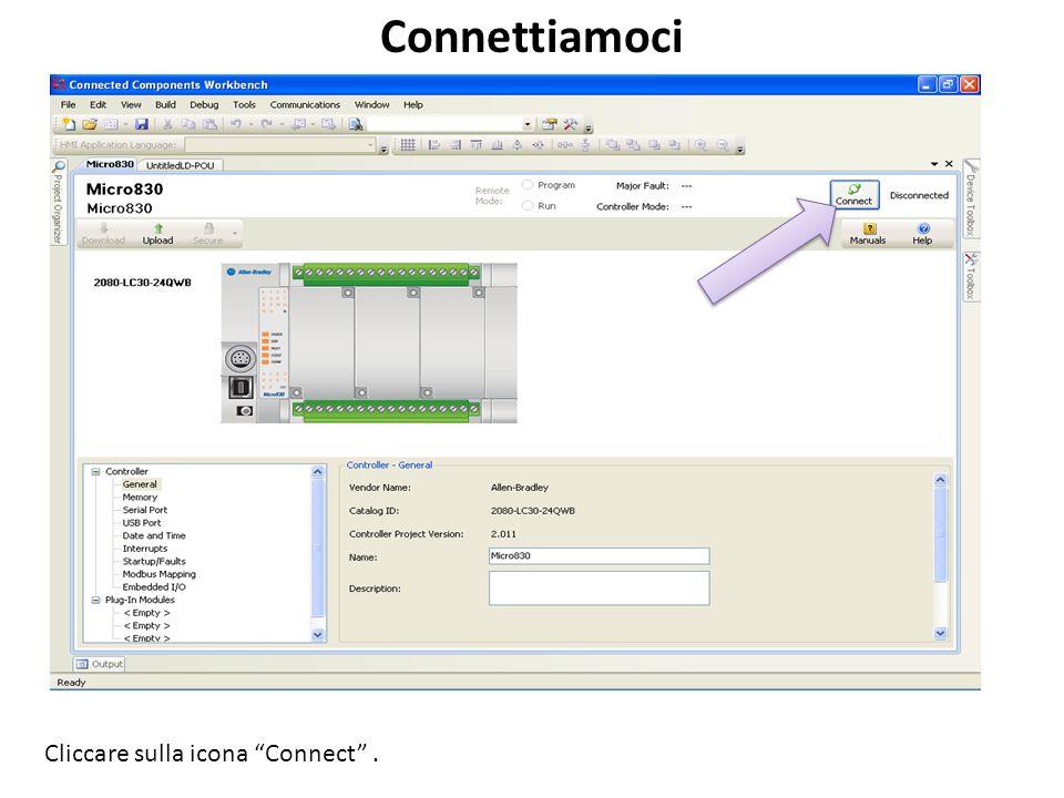 Connettiamoci Cliccare sulla icona Connect.