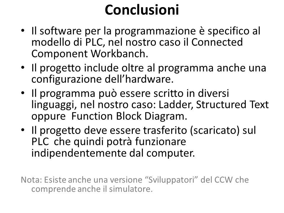 Conclusioni Il software per la programmazione è specifico al modello di PLC, nel nostro caso il Connected Component Workbanch.