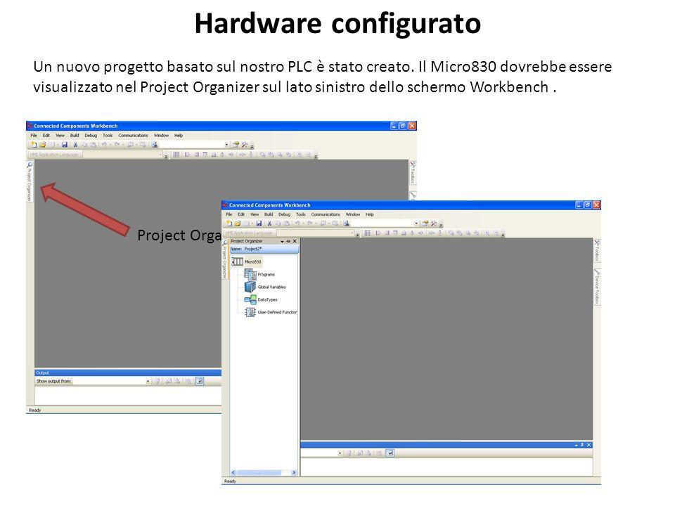 Un nuovo progetto basato sul nostro PLC è stato creato. Il Micro830 dovrebbe essere visualizzato nel Project Organizer sul lato sinistro dello schermo