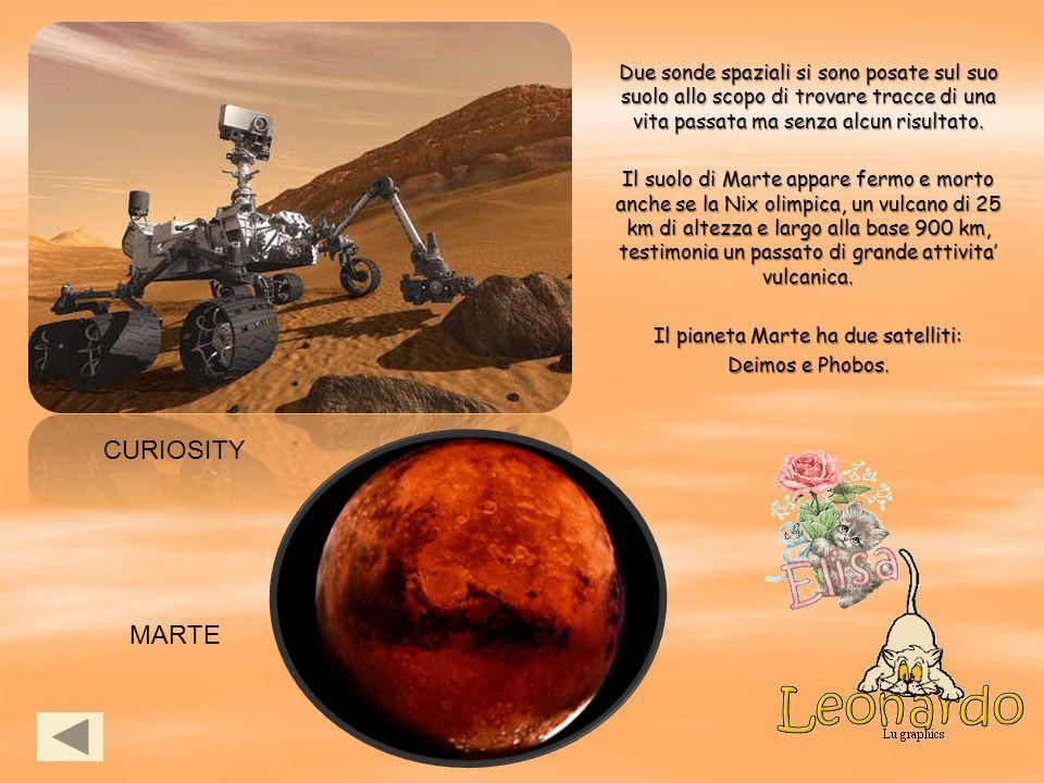 CURIOSITY MARTE Due sonde spaziali si sono posate sul suo suolo allo scopo di trovare tracce di una vita passata ma senza alcun risultato. Il suolo di