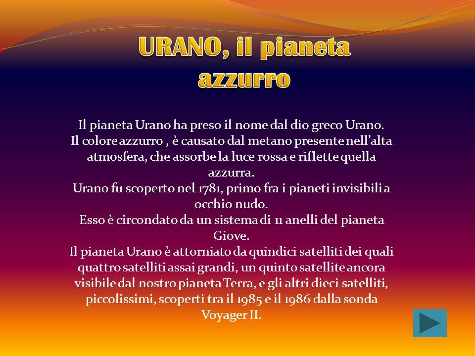 Il pianeta Urano ha preso il nome dal dio greco Urano. Il colore azzurro, è causato dal metano presente nellalta atmosfera, che assorbe la luce rossa