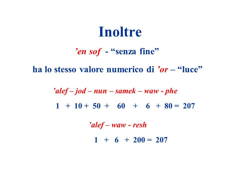 Inoltre en sof - senza fine ha lo stesso valore numerico di or – luce alef – jod – nun – samek – waw - phe 1 + 10 + 50 + 60 + 6 + 80 = 207 alef – waw