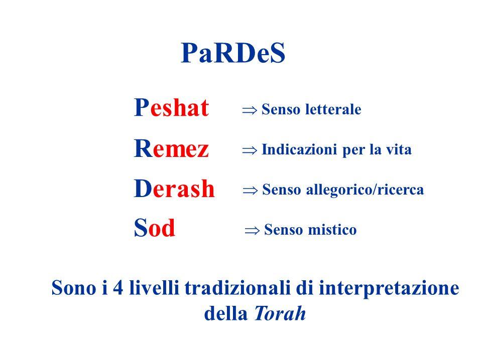 PaRDeS Peshat Remez Derash Sod Senso letterale Indicazioni per la vita Senso allegorico/ricerca Senso mistico Sono i 4 livelli tradizionali di interpr