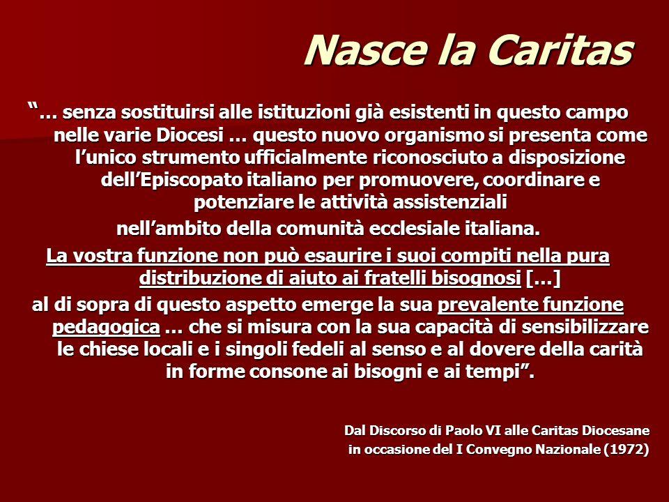 Nasce la Caritas … senza sostituirsi alle istituzioni già esistenti in questo campo nelle varie Diocesi … questo nuovo organismo si presenta come luni