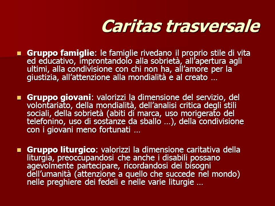 Caritas trasversale Gruppo famiglie: le famiglie rivedano il proprio stile di vita ed educativo, improntandolo alla sobrietà, allapertura agli ultimi,